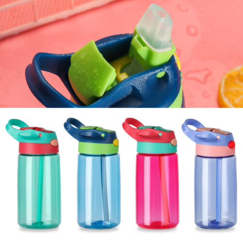480ml Children Kid Drinking Cup Sports Water Bottle with Straws Plastic BPA Free