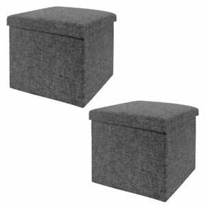 Awesome Details About New 2Pk Seville Classics Foldable Storage Cube Ottoman Charcoal Gray Creativecarmelina Interior Chair Design Creativecarmelinacom