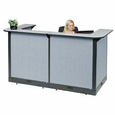 88w X 44d X 46h U Shaped Electric Reception Station Gray Counterblue Panel