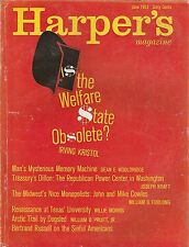 JUNE 1963 HARPERS magazine THE WELFARE STATE