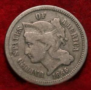 1865 Philadelphia Mint Nickel Three Cent Coin