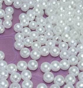 1000 Perlen perlmutt weiß Dekoperlen mit Loch Hochzeit Wachsperlen Tischdeko