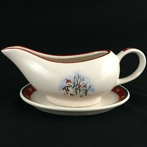 VTG-Gravy-Boat-and-Underplate-by-Royal-Seasons-Stoneware-Snowmen-RN2-Christmas