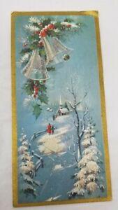 Vintage-MCM-Christmas-Sparkles-Card-White-amp-Blue-Bells-Church-Glitter