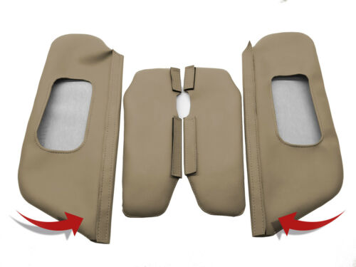 Sunvisors 4PC Set Cover PVC Leather for Ford Excursion 2000-2006 Med Parchment