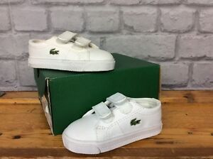 512edc208e Details about LACOSTE UK 3 EU 19 MARCEL ALL WHITE TRAINERS TODDLER CHILDREN  BOYS GIRLS