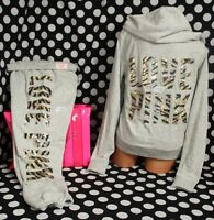 Victoria's Secret Pink Set (m)bling Perfect Zip Hoodie+(s)skinny Pant Gold Tiger