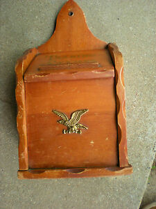 Vintage Primitive Style Wooden Trading Stamps Box w Eagle Wall Pocket