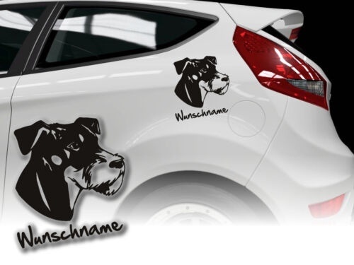 Aufkleber Deutscher Jagdterrier  H240 Hundeaufkleber Wunschname Auto