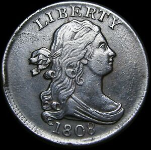 1808 Draped Bust Half Cent 1/2 Penny  ----  Stunning Type Coin  ----  #H205