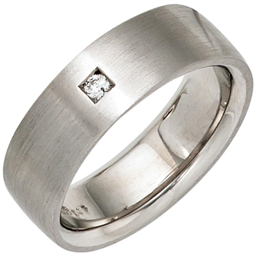 NUOVO diamante reale reale reale argentoo 925er Anello Matt semplicemente larga 1 Diamante Taglia 50-60 8b7c71
