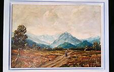 Panorama alpino de Garmisch. Atmosférica orig. Pintura Al óleo firmado Al PENSER