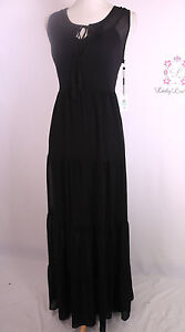 Calvin Klein Women S New Tiered Printed Maxi Dress Black Cd7h135g