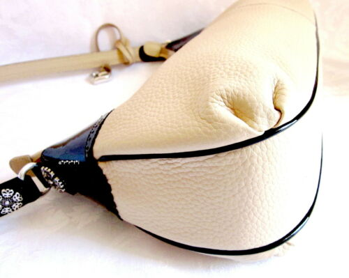 Paulette W Patent Htf Cream Pebbled Nwot Leather Zwart Brighton Trim RjAL54