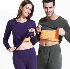 9a115868c Men Women Winter Warm Velvet Inner Wear Thermal Underwear Long Johns ...