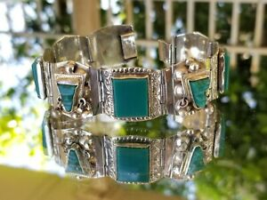 Antique-1970s-Taxco-925-Mexican-Sterling-Silver-Wide-Cuff-Green-Jade-Stone-Heavy