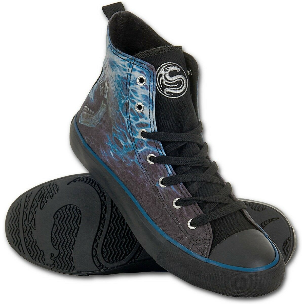 Spiral Direct - FLAMING SPINE - Mens High Top Lace Sneakers   Rock, Sports