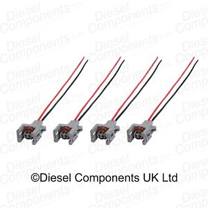 4 x Diesel Injector Connector Plug 2 Way Pre-Wired for Renault Delphi Injectors 748079475236