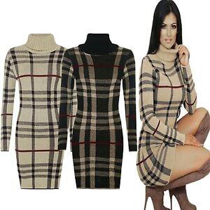 New-Ladies-Womens-Knitted-TARTAN-Check-POLO-Neck-Long-Sleeves-Bodycon-MIDI-Dress