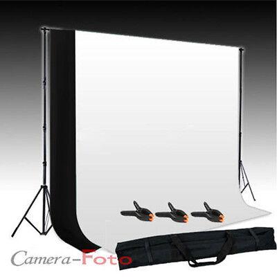 Photo Studio Background Support Stand + Free White & Black Backdrop Kit Set UK