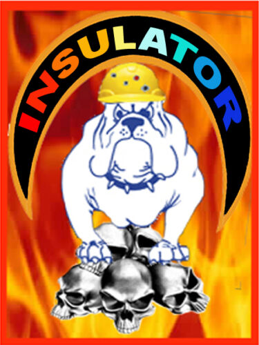 flames and union dog Ci-7 Insulator with skull