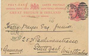 2427-1899-QV-1d-carmine-VF-postcard-LONDON-Duplex-034-SYDENHAM-S-E-25-034