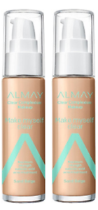 c63c09e62 Lot of 2, Almay Clear Complexion Make Myself Clear Makeup, 600 Sand ...