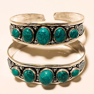 LAVISH-LOT-TURQUOISE-925-STERLING-SILVER-OVERLAY-BRACELET-CUFF-JEWELLERY-2P