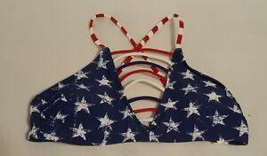 New-Womens-Xhilaration-Swimwear-Red-White-Blue-Stars-Bikini-Top-Swimsuit-Size-XS