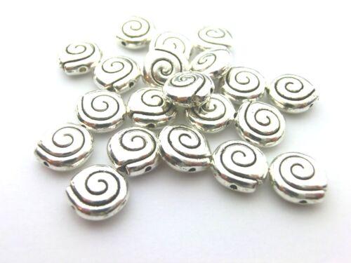 10 Metallperlen Spacer Schnecke Farbe 8,5x3,5mm antiksilber rund #S110
