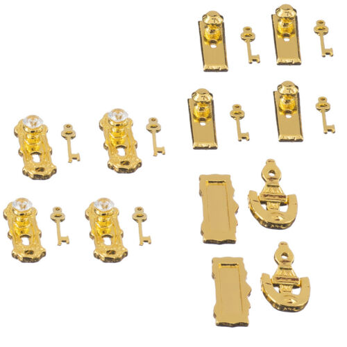 4 Set Dollhouse Miniature Brass Metal Knobs Keys Keyplate Door Accessory DIY