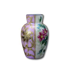 French-Antique-Art-Nouveau-Hand-Painted-Enamel-Pink-amp-White-Opaline-Vase