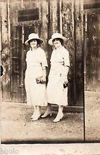BM169 Carte Photo vintage card RPPC Femme woman mode fashion soeur même vetement