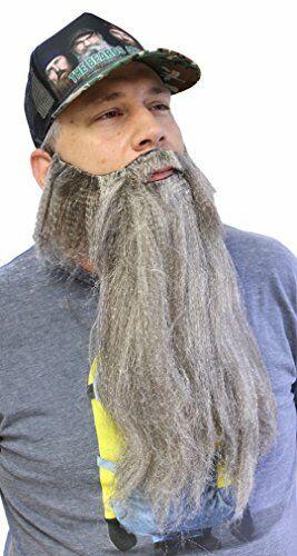 One Size Fits All Extra Long Fake Grey Salt /& Pepper Beard w// Mustache