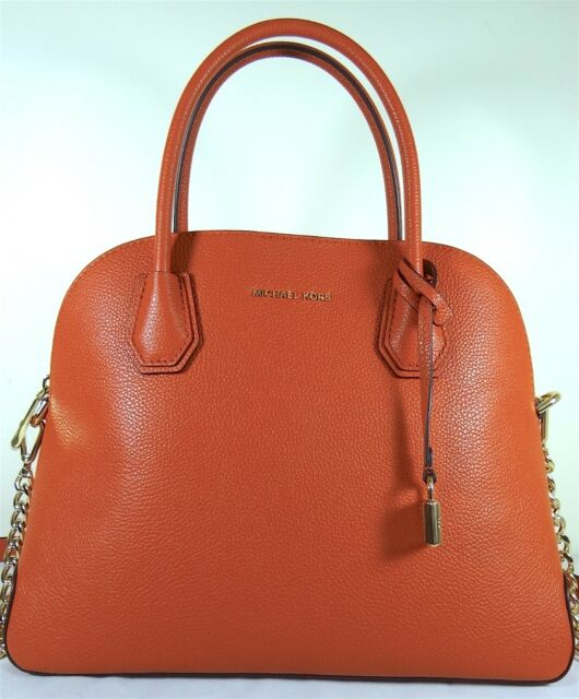 6397a4415a3d Michael Michael Kors Mercer Large Dome Orange Leather Satchel Bag