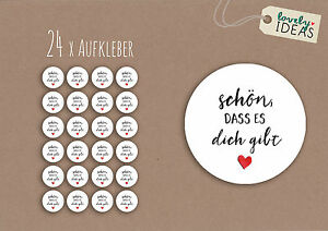 24-x-Geschenkaufkleber-034-Schoen-dass-es-dich-gibt-034-40mm-weiss-Etiketten-Aufkleber
