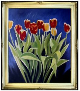 Framed-Yellow-and-Red-Tulips-Quality-Hand-Painted-Oil-Painting-20x24in
