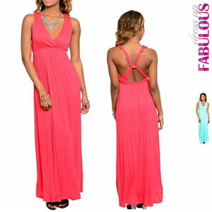 Sexy-A-Line-Maxi-Dress-Size-M-S-XS-6-8-10-Hot-Sleeveless-Summer-Party-Evening