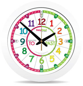 Details about NEW!! Kids 29cm Easy Read Time Teacher Clock Learn to Tell  Time Colour face