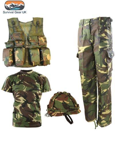 Kids childrens dpm camouflage ensemble t shirt pantalon assault vest casque armée britannique