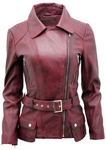 finest selection 5e7c2 90c3c Dettagli su Bordeaux da Donna Vintage lungo Femminile Giacca di pelle da  Motociclista