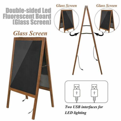 Kundenstopper Kreidetafel Holz 52x100x45cm Aufsteller Werbetafel LED Standtafel