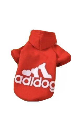 Perro Abrigo//Sudadera Con Capucha de Estilo Adidas-Adidog-Small-xs Para Perros Miniatura-Rojo