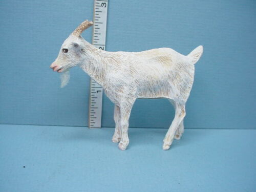 Miniature Standing Goat #CSL78  White Wi Tan Highlights Handcrafted 1//12th