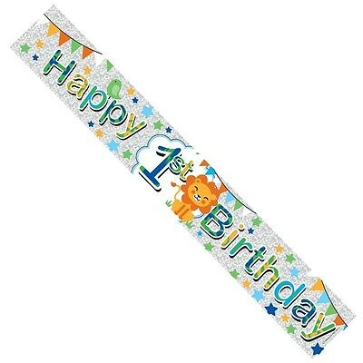 Age 1 Boy Foil Party Banner - Multicoloured Happy 1st Birthday with Lion 2.6m