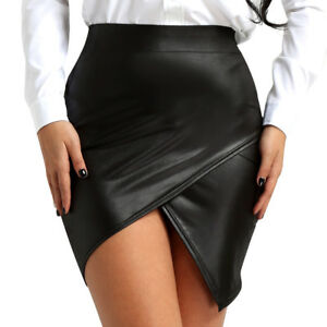 Women-Wet-Look-Leather-High-Waist-Side-Slit-Bodycon-Midi-Pencil-Skirt-Slim-Skort
