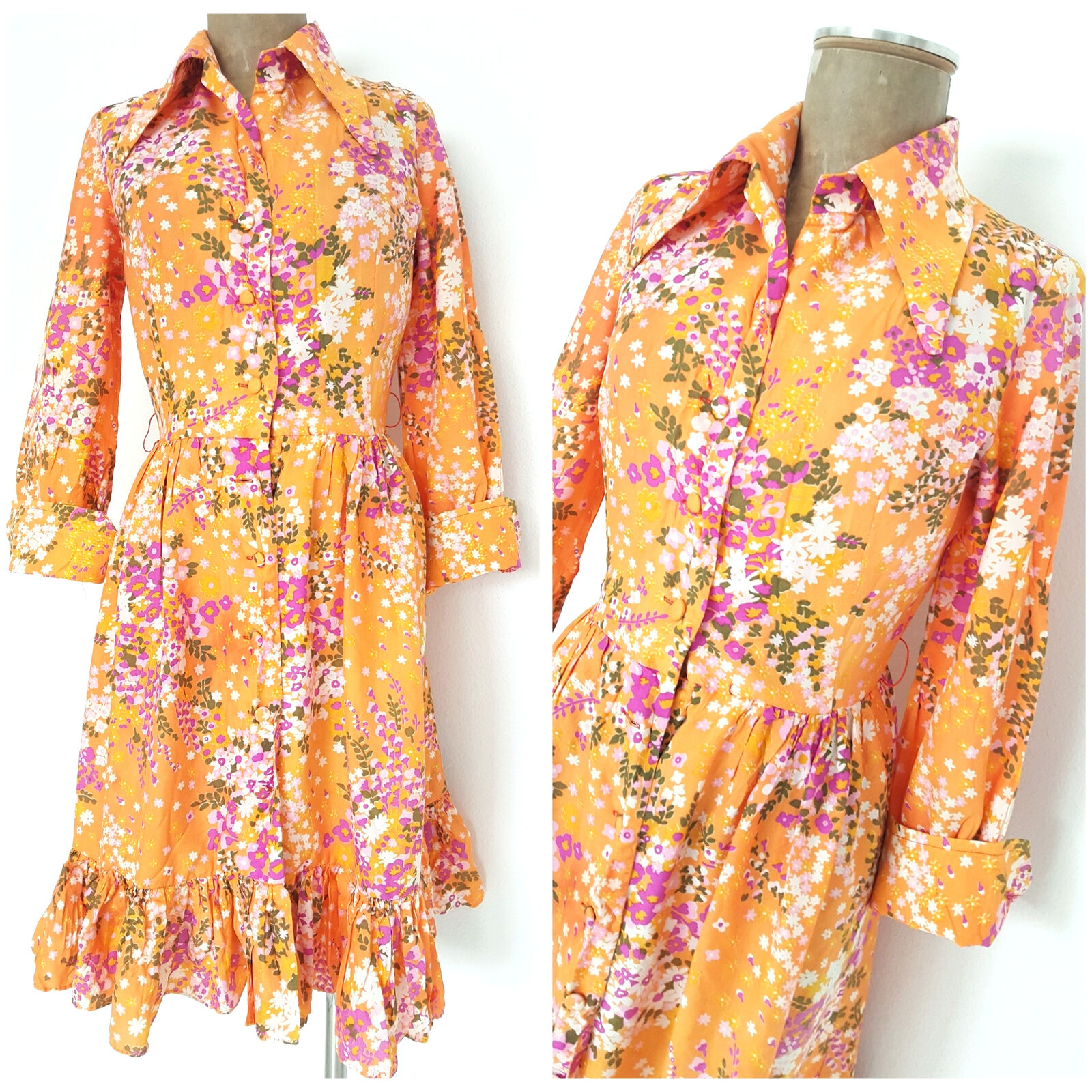 Vintage 50s Carroll's Easter Ruffle Floral Dress Size Small Festive Party Pinup