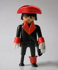 Playmobil Custom Vintage Black Peg Leg Pirate w/ Red Accessories & Chrome Sword