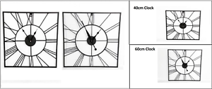 40cm-60cm-Metal-Roman-Numeral-Wall-Clocks-Garden-Outdoor-Square-Open-Face-Clock