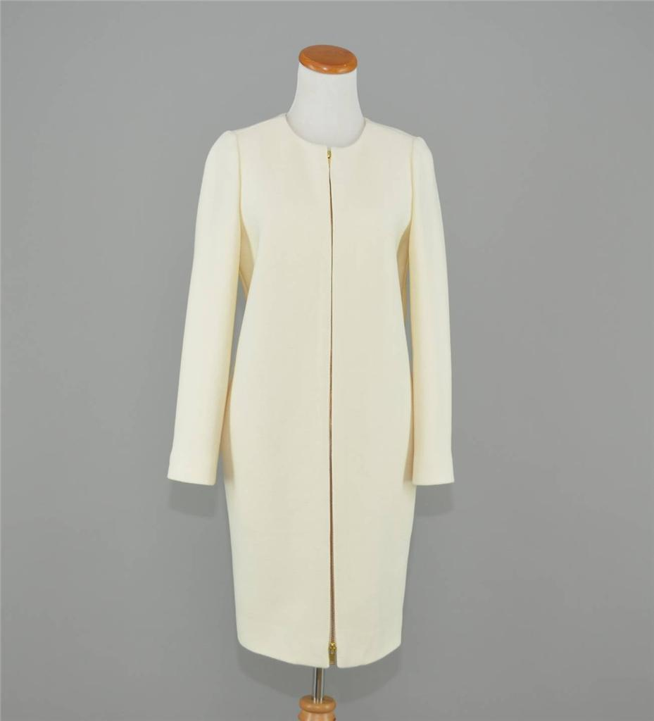 J. CREW  WOOL DOUBLE CLOTH COLLARLESS COAT 12P ANTIQUE WHITE IVORY A8919